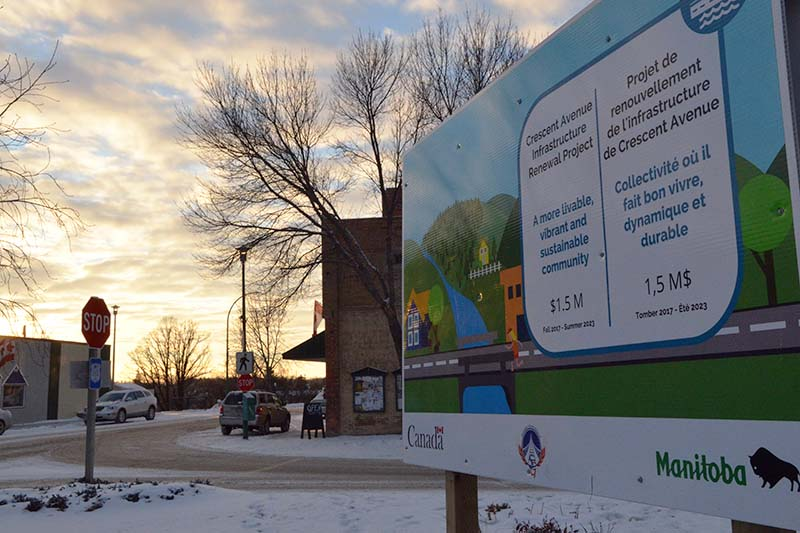 photo shows sign on Crescent Avenue in Souris announcing $1.5-million street renovation project (photo Glen Kirby)