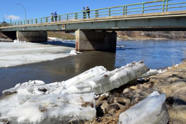 photo shows ice along Souris River and backed up on bank (photo Glen Kirby)