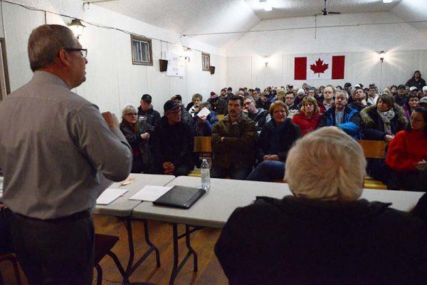 Oakland Wawanesa mayor at rural water public meeting in January (photo Glen Kirby)